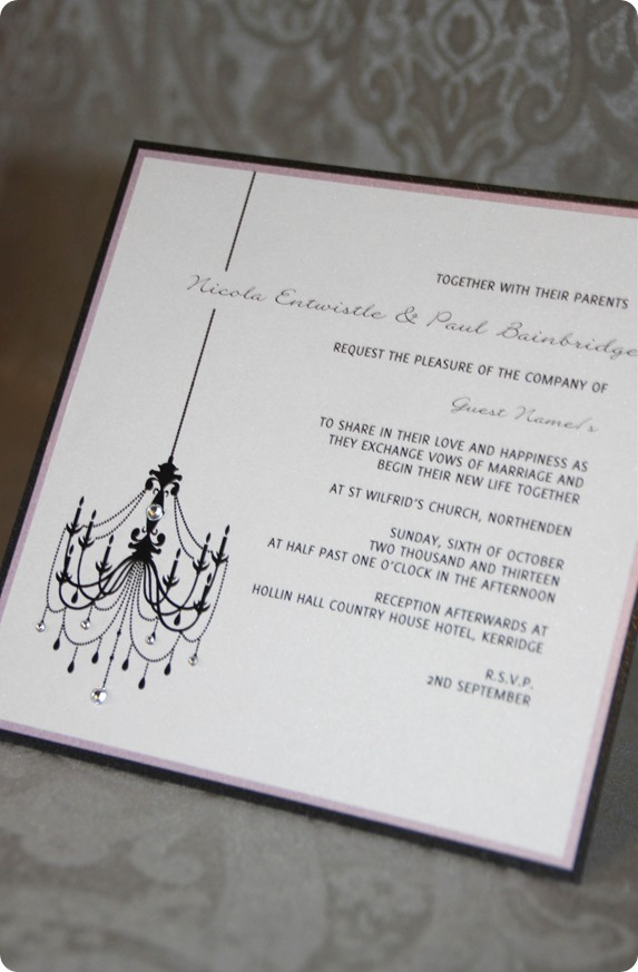 ATLD Elegant Chandelier with Swarovski Crystals Flat Invitation £3.50