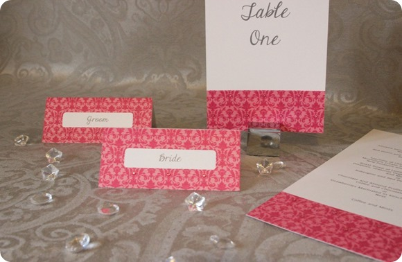ATLD Pink Sparkle Damask Table Number, Menu and Place Cards £1.95 £1.75 £0.80