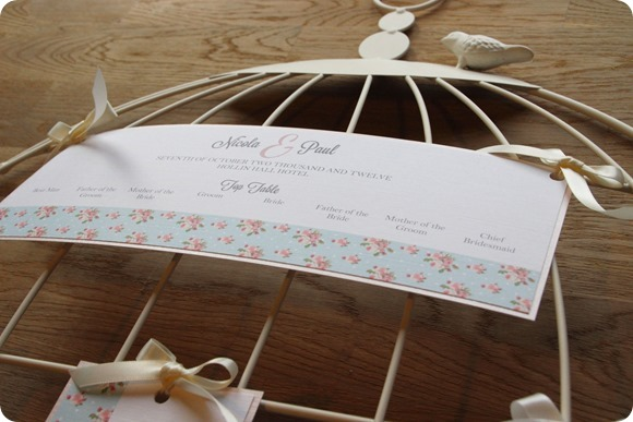 ATLD Shabby Chic Spotty Rose Birdcage Table Plan Cards  from £1.95