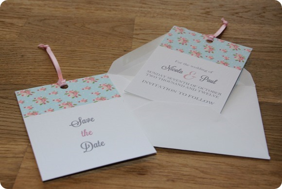 ATLD Shabby Chic Spotty Rose Save the Date  £1.25