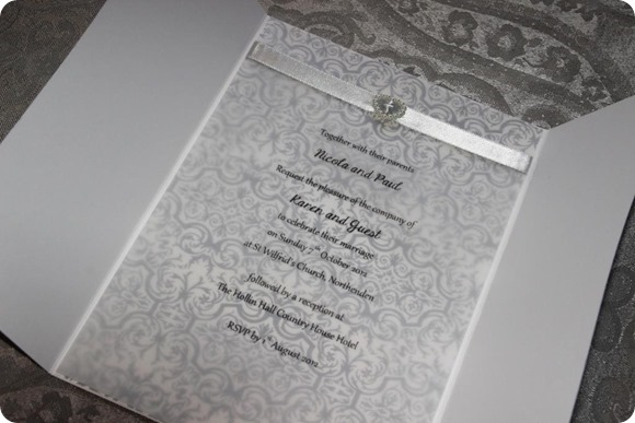 Elegant Vintage Grey Damask Gatefold Invitation