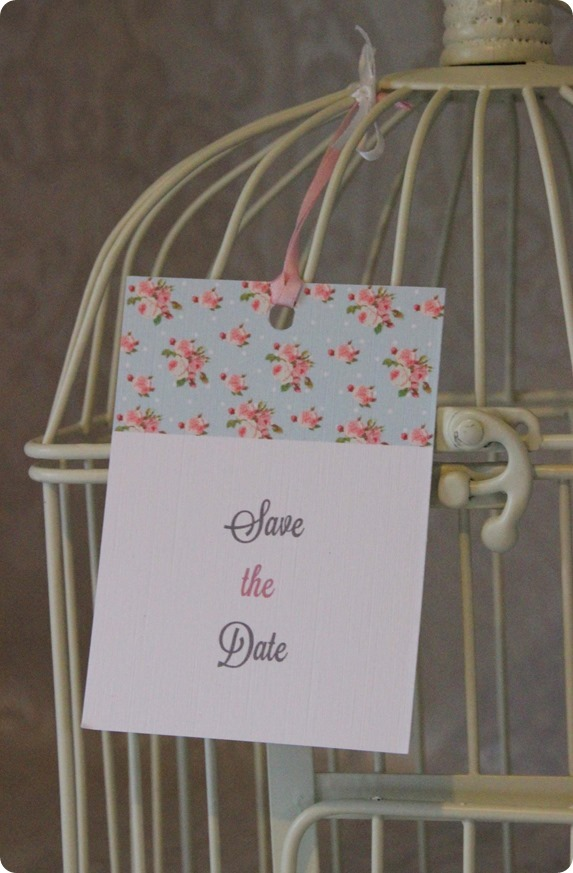 Shabby Chic Spotty Rose Save the Date Birdcage