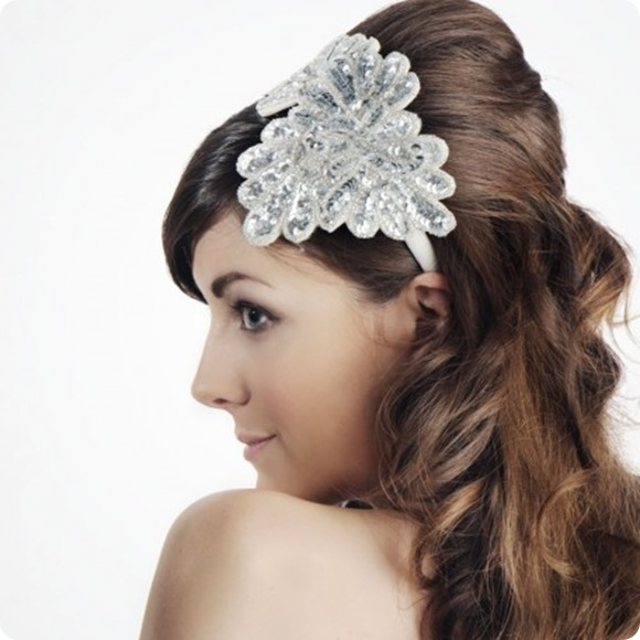 Vintage Sequinned Bridal Headband
