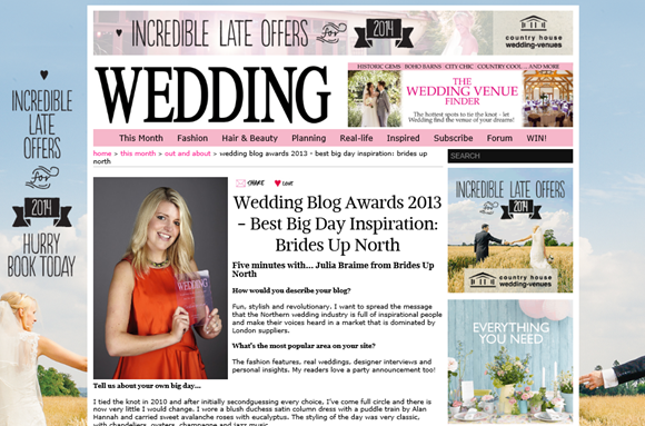 Brides Up North Wins A Wedding Blog Award 2013