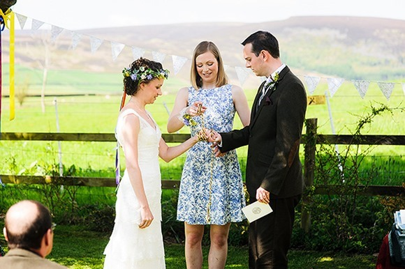 A Cymbeline gown, flower crown and handfasting for a Wedding in the Peak District - (c) Jon Rouston