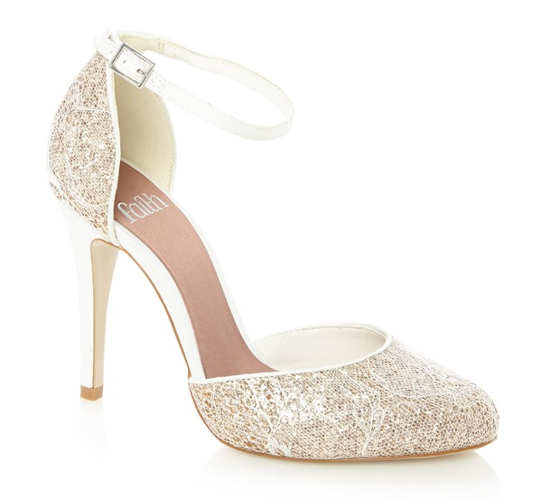 Faith Natural Glitter Lace Court Shoe