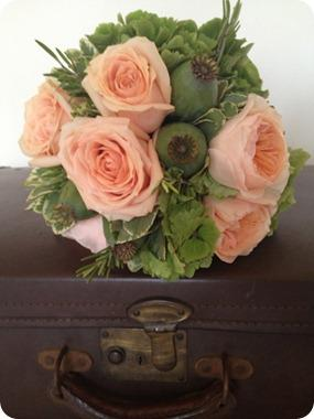 Peach David Austin Bouquet by Leafy Couture
