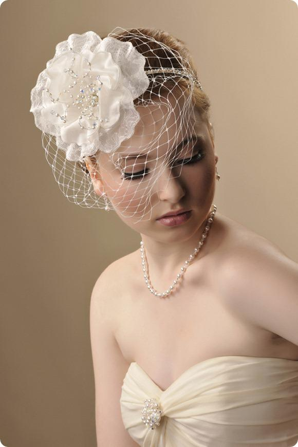 Georgina with birdcage veil modelled, £220, www.rosiewillettdesigns.co.uk