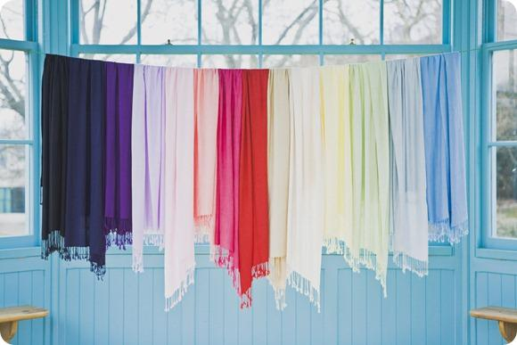 Colourful pashmina wraps - Pashmina Rainbow by India Hobson Weddings